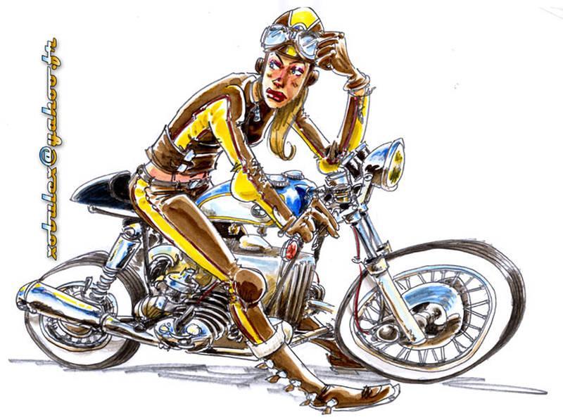 Dessin Moto Cafe Racer Bmw